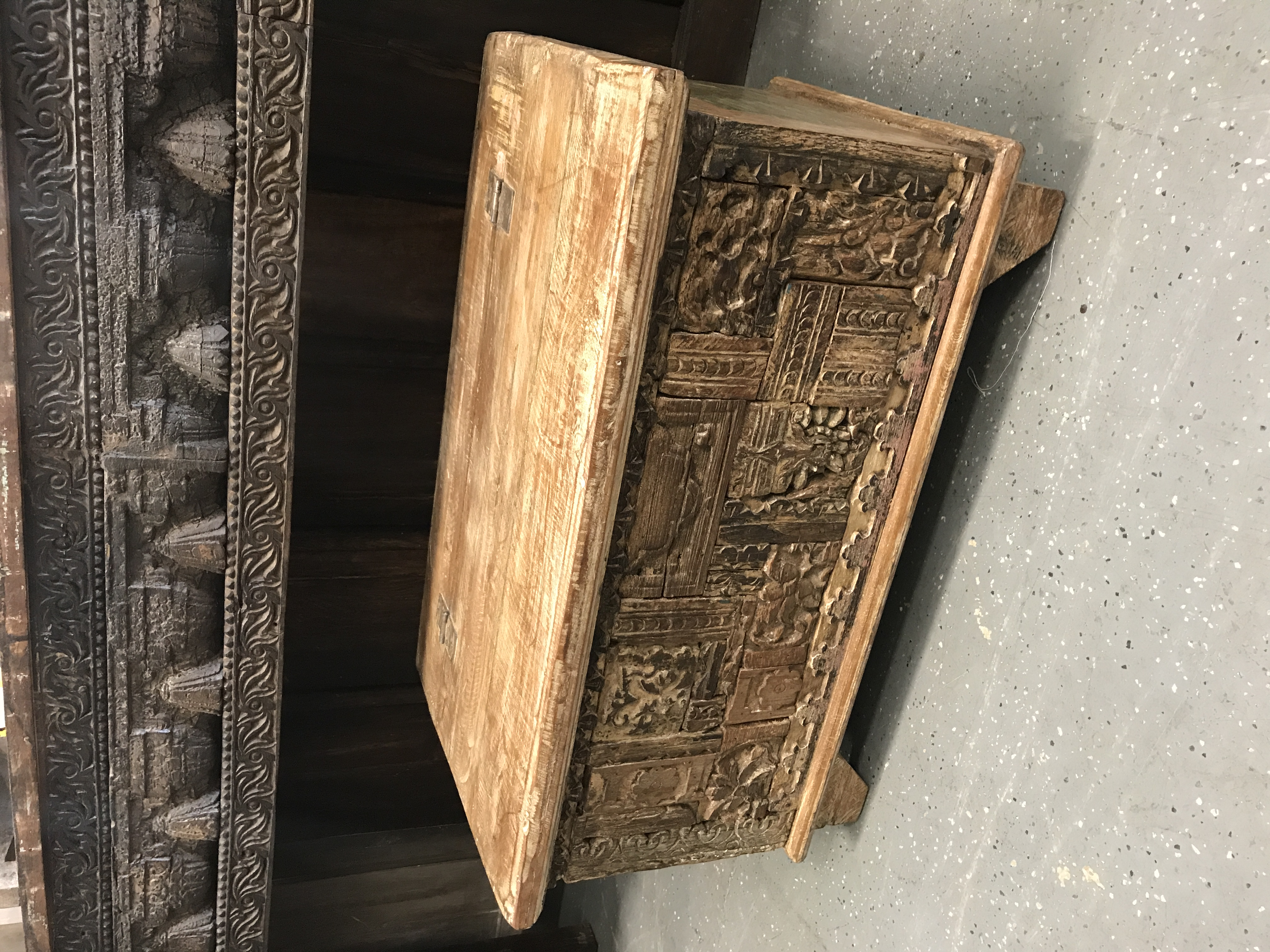 Hand Carved Wooden Trunk