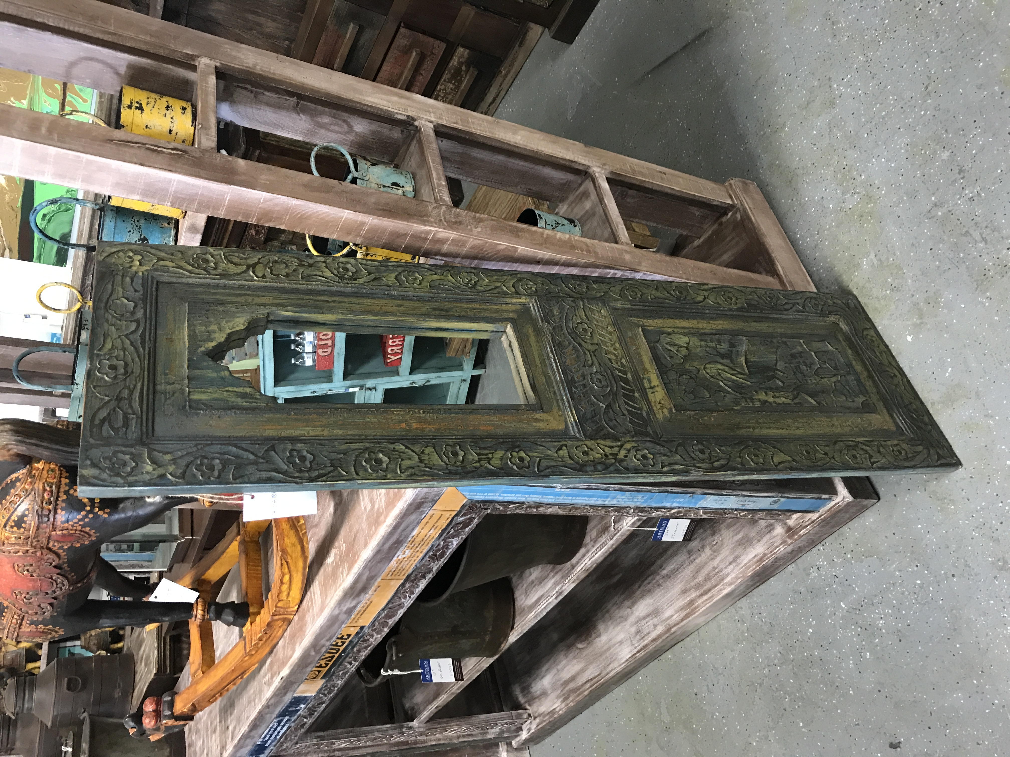 Hand Carved Standing Mirror