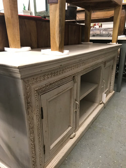 White Carved TV Stand