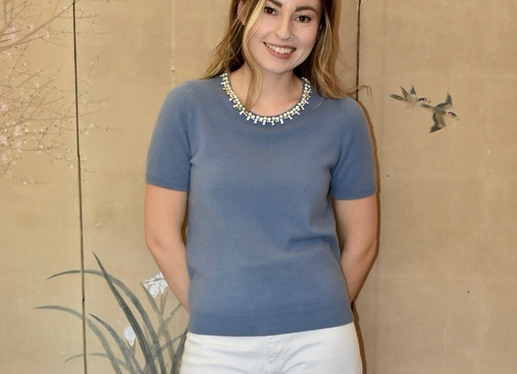 Ash blue cashmere t-shirt with beaded collar