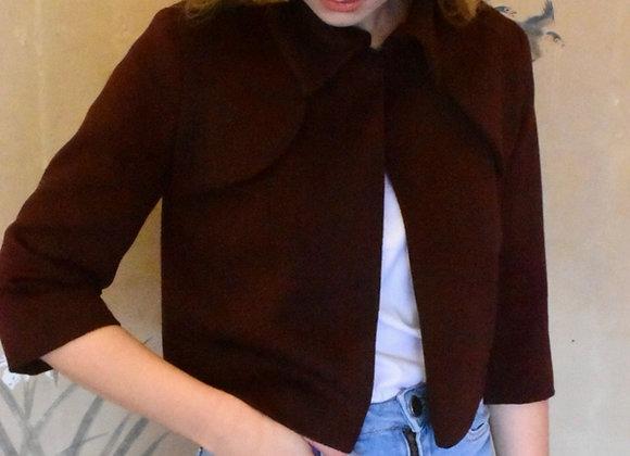 Burgundy 'khan cashmere' cropped jacket
