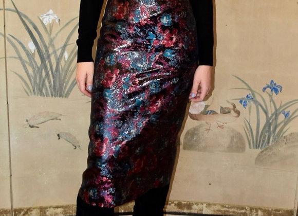 Multicolour floral silk lurex jacquard skirt