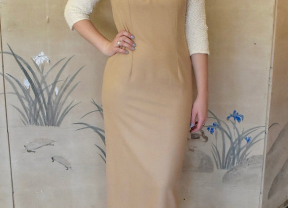 Camel and ivory boucle wool dress