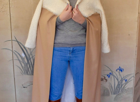Camel and ivory coat with silk lining