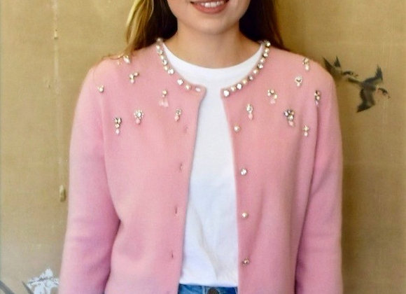 Pink cashmere cardigan with crystal and pearl embellishment