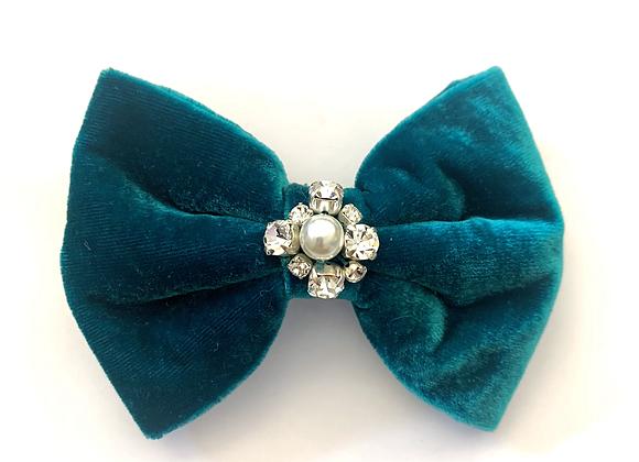 Teal velvet and crystal hair clip