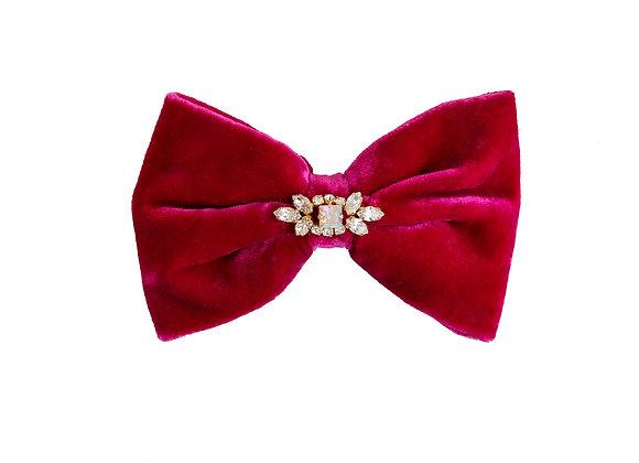 Velvet red hair clip with crystal embellishment