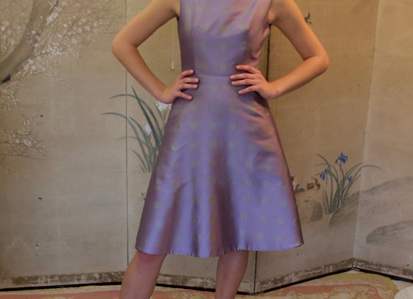 Violet spotted dress with a - line skirt