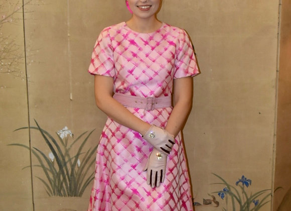 Pink silk jacquard basket weave dress, with open back and belt
