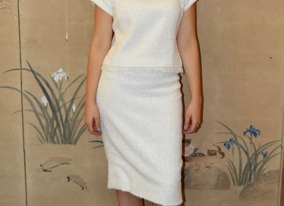 Ivory boucle pencil skirt