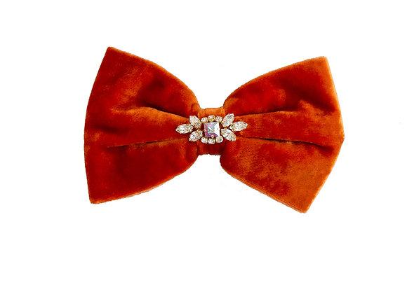 Orange hair clip with crystal embellishment