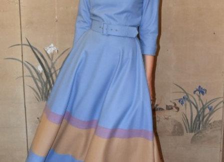 Wedgewoodblue v-neck wool colourfull skirt dress.