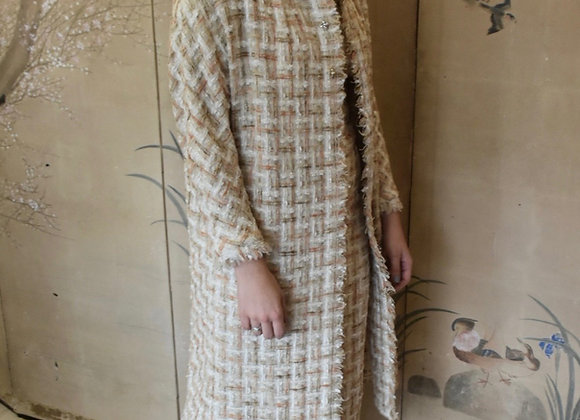 Peach and ivory basket weave boucle coat