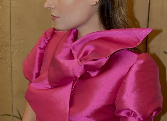 Fuchsia silk tie front blouse with short puff sleeves