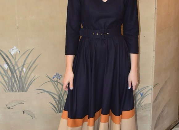 Navy block stripe wool v-neck dress