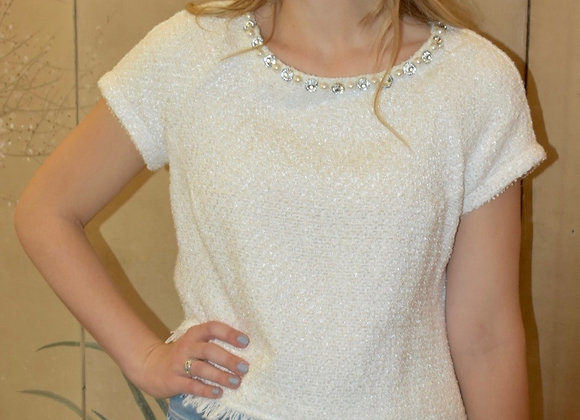 Ivory wool boucle shell top with beading