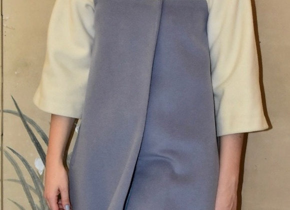 Ivory and blue cashmere knee length swing coat. Silk lining.