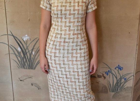 Peach and ivory basket weave boucle midi dress