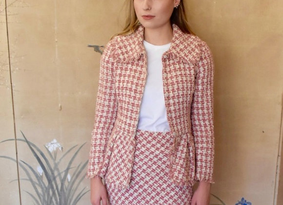Pink and white basket weave boucle jacket