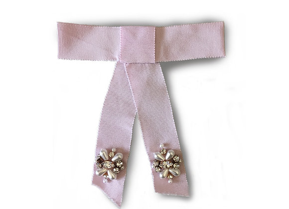 Silk hair clip with crystal and pearl embellishment