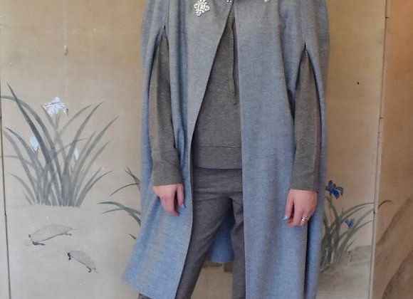 Grey wool diamante beaded cape with side vents