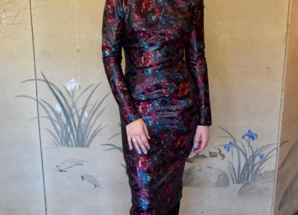 Multicolour floral silk lurex jacquard dress