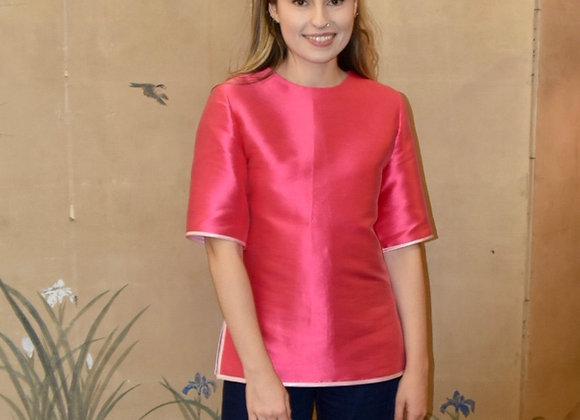 Fuchsia heavy silk shell top with pale pink trim
