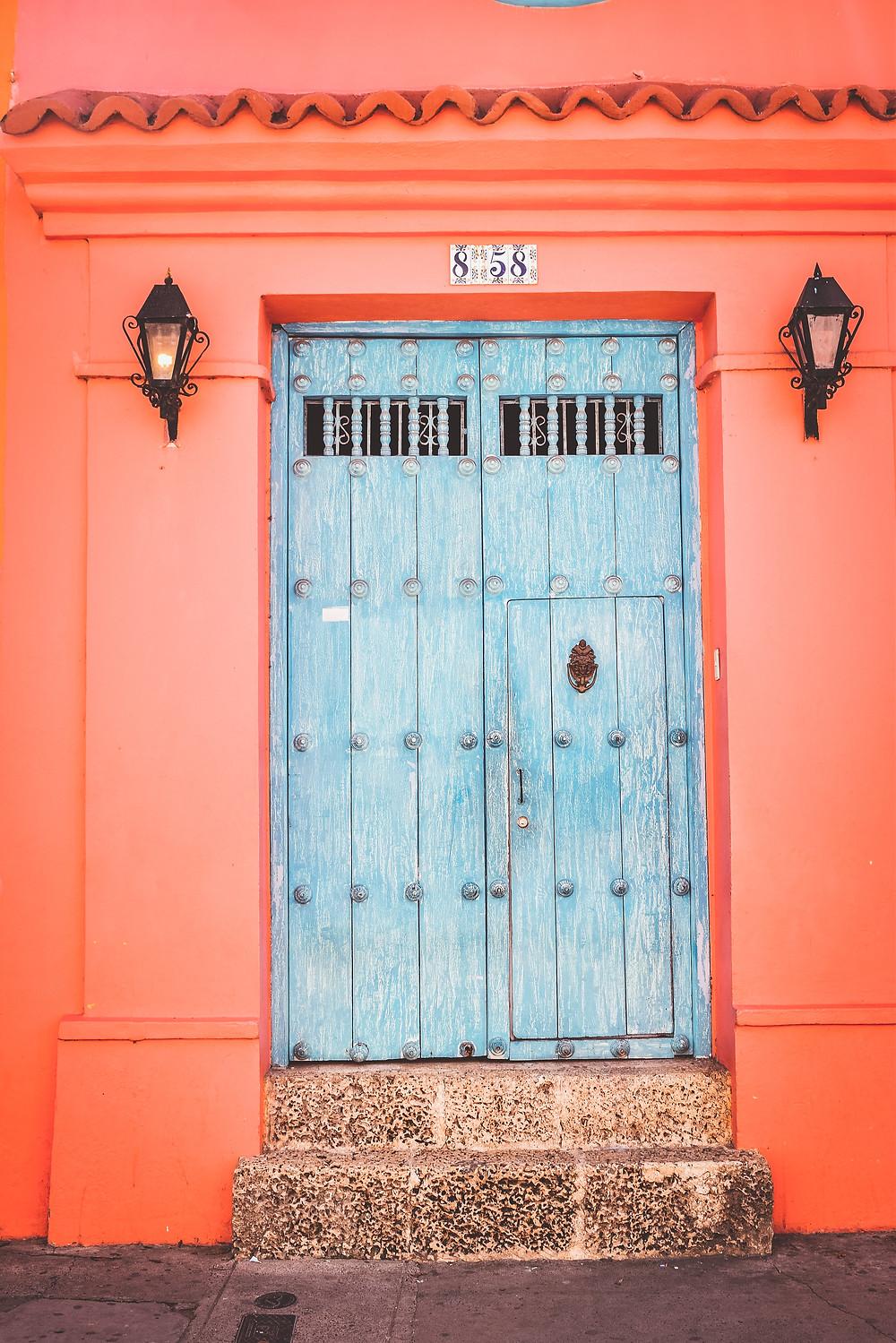 colorful door of Cartagena