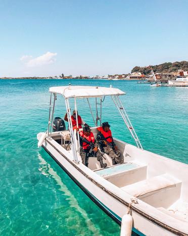 BICA's marine patrol ranger accompanying the Honduran Navy to protect The Bay Islands National Marine Park's reefs.