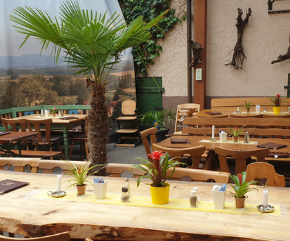 überdachter Innenhof mit Palmen  - Löwenstrausse Gartenwirtschaft