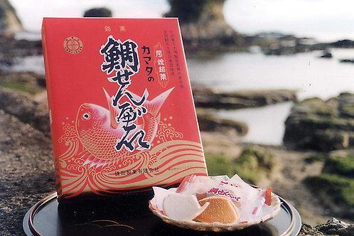カマタ製菓の鯛せんべい(化粧缶入)(送料別)