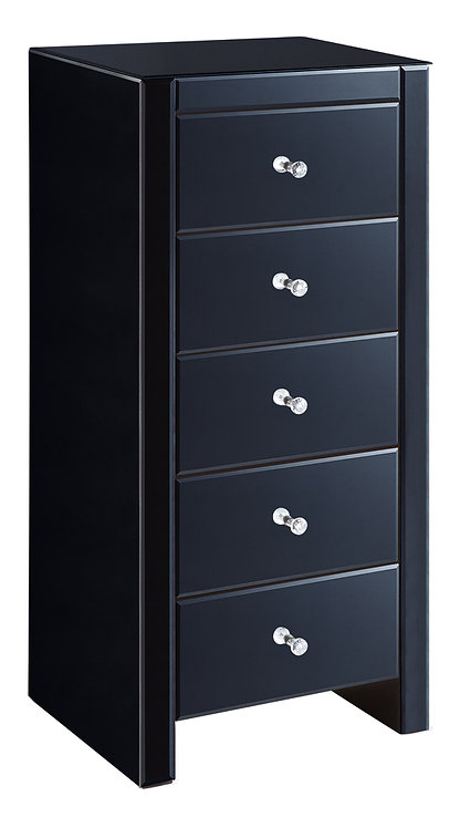 BLACK MIRROR TALL BOY 5 DRAWER CHEST