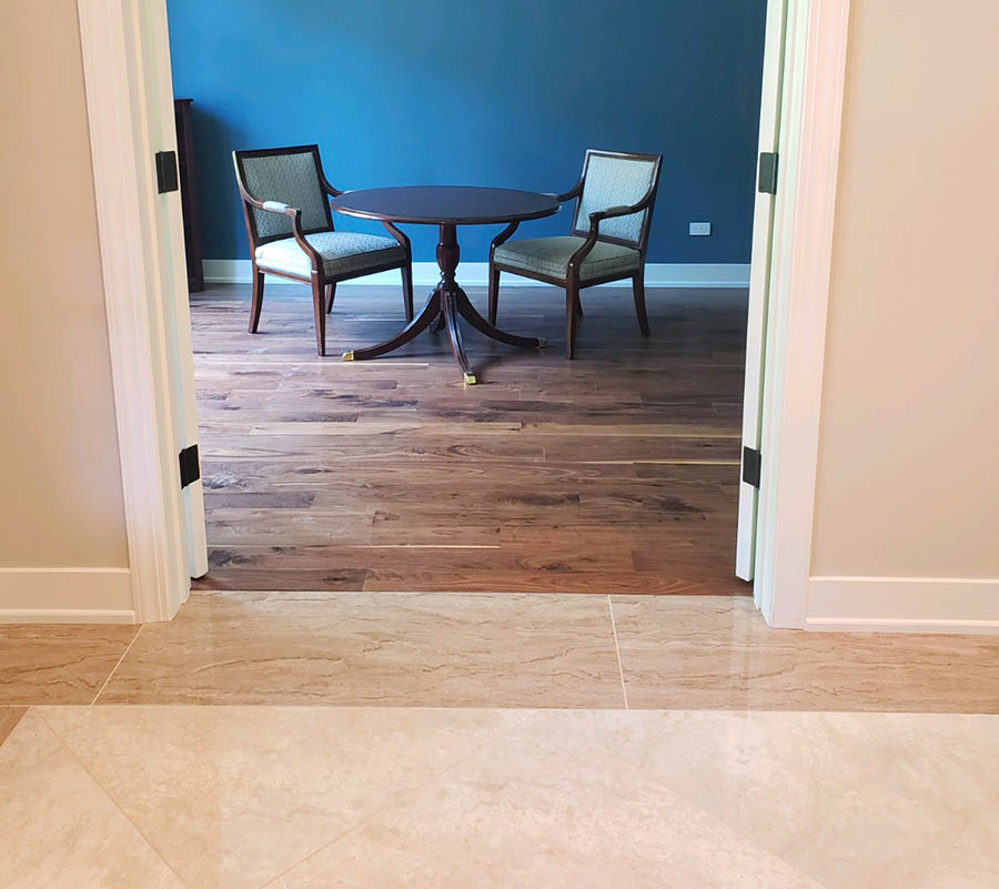Walnut hardwood and porcelain tile