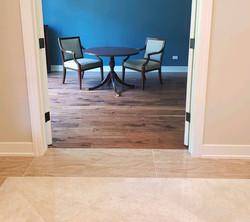 Walnut hardwood and porcelain tile