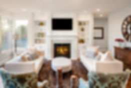 Beautiful living room with, fireplace an