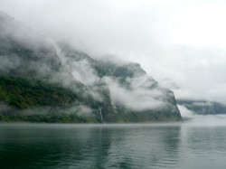 Mystic Sognefjord in the fog