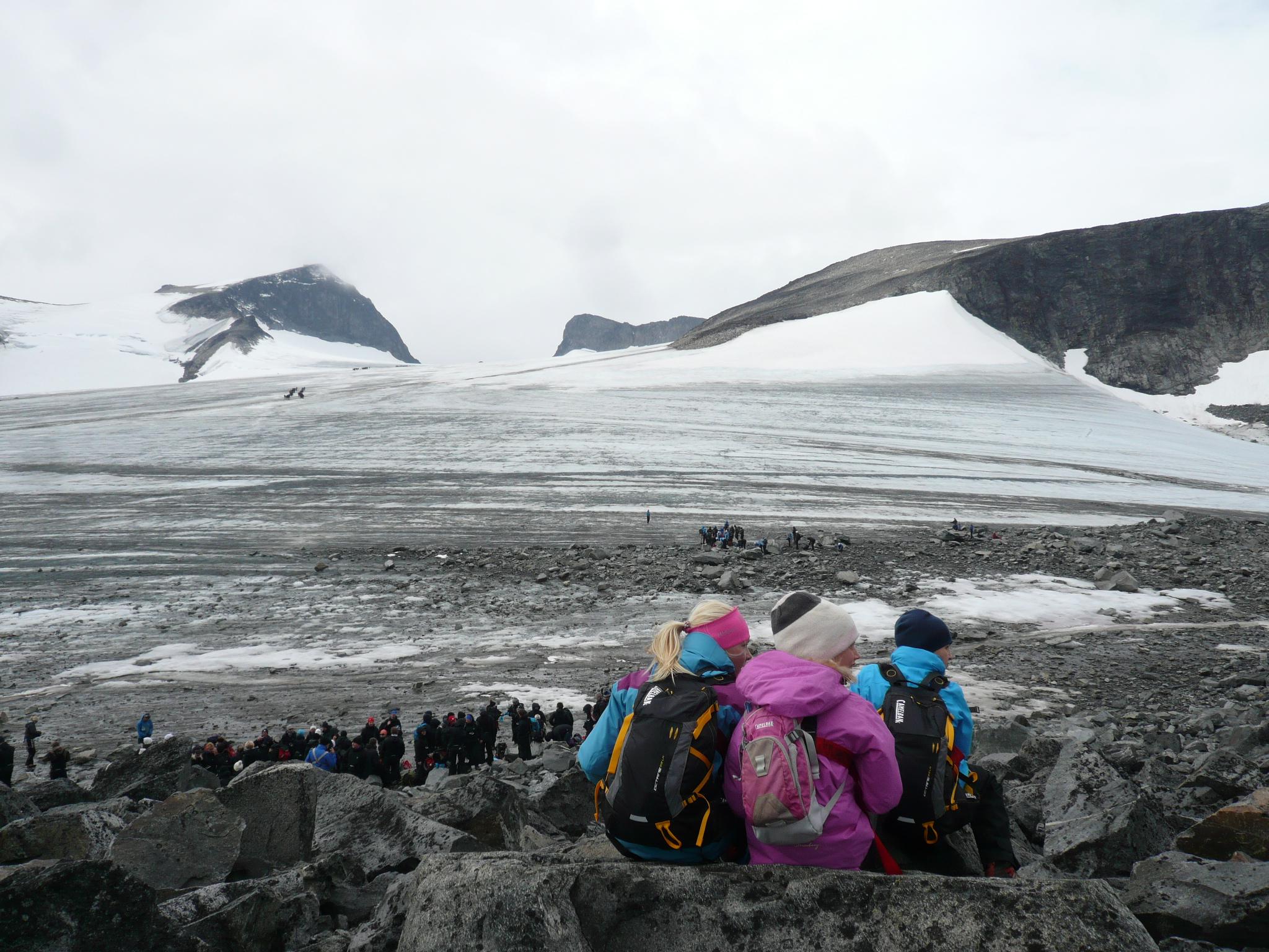 Break before crossing the glacier
