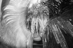 Ice formations in the cave