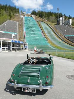 A nice car... and a deserted ski jump