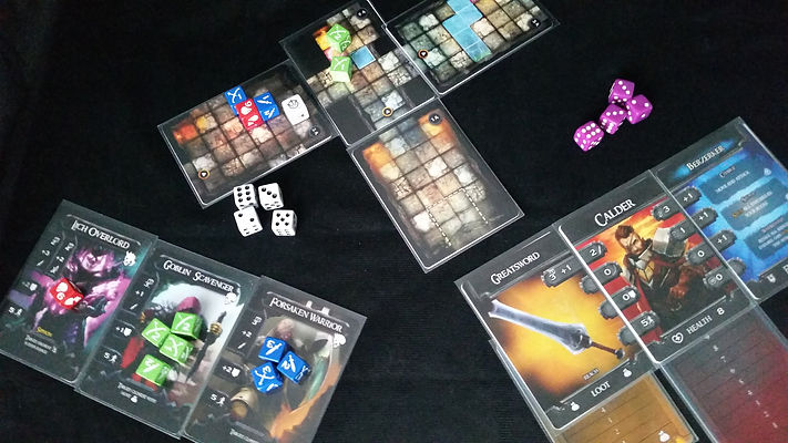 Deckbox Dungeons Prototype Dice in play