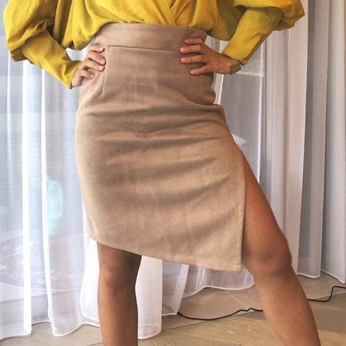 MZINGRIDZHOP | Glamorous Mini Skirt in Tan Faux Suede