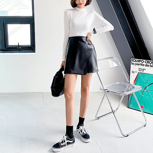 MZINGRIDZHOP | Leather Look Mini Skirt