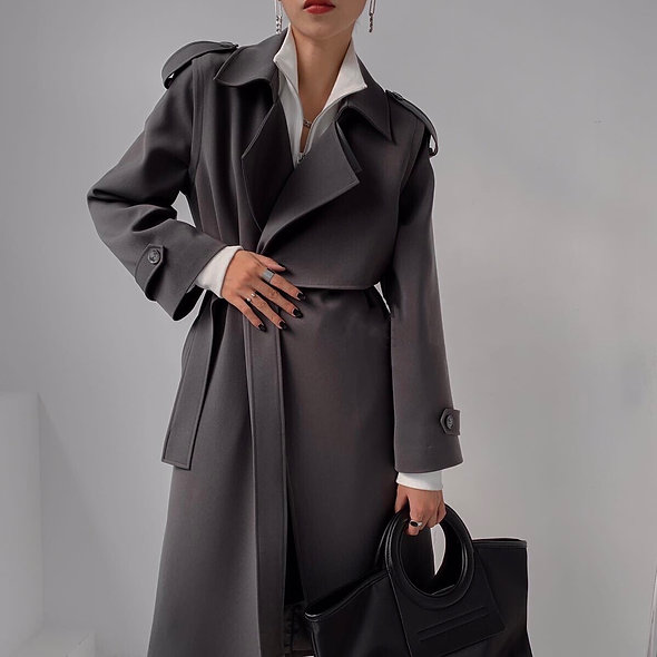 Mzingridzhop | Trench Coat with Tie Belt