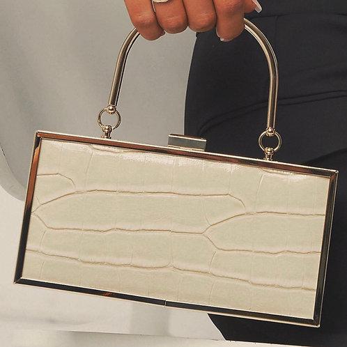 MZINGRIDZHOP | Hard Box Clutch in Cream Croc