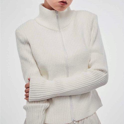 MZINGRIDZHOP | Cotton Full Zip Rib Detail Jumper
