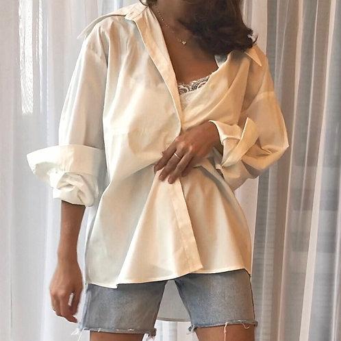 MZINGRIDZHOP | Korean Style Oversized Shirt in White