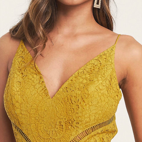 MZINGRIDZHOP | Lace Dress with Ladder Trim Detail in Yellow