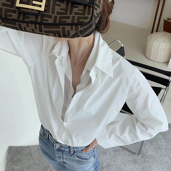 MZINGRIDZHOP   Double Collar Design - Long Sleeve Boyfriend Shirt