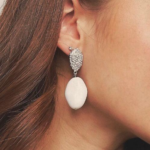 MZINGRIDZHOP    Rhinestone Diamanté and Peal Drop Earrings in Sliver