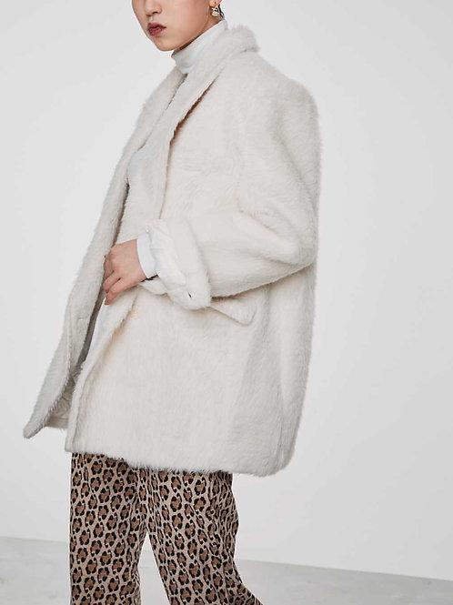 MZINGRIDZHOP | Faux Mink Fur Coat in White